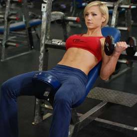 Alternating incline dumbbell curl
