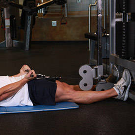 Lying cable biceps curl