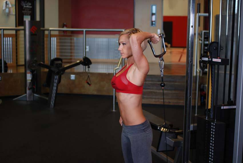 Standing Low Pulley One Arm Triceps Extension Exercise