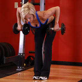 Double-arm dumbbell row