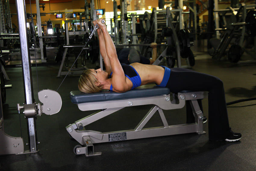 Cable Extensions Workout : Cable lying triceps extension exercise guide and video