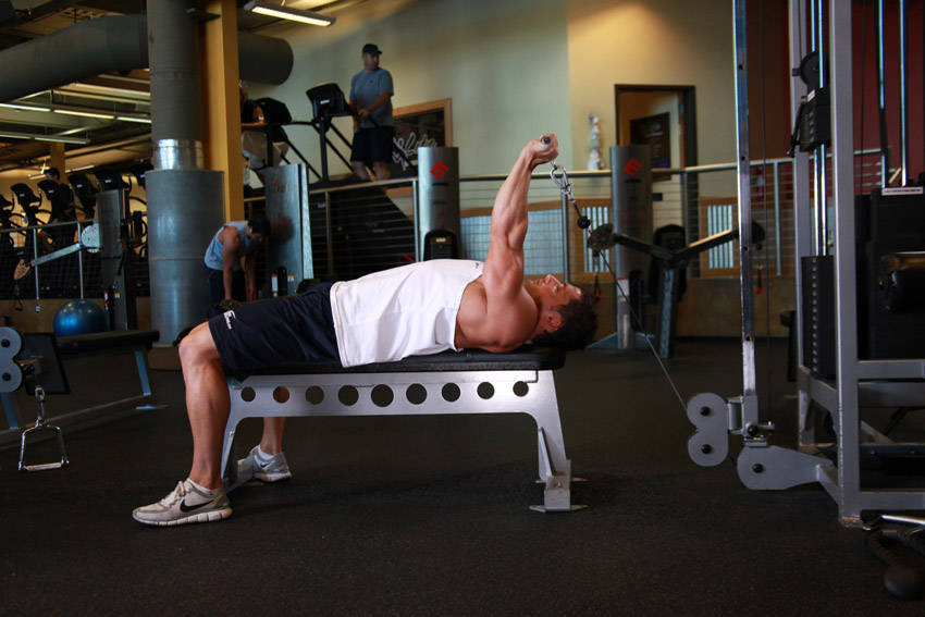 Cable Tricep Extension : Cable lying triceps extension exercise guide and video