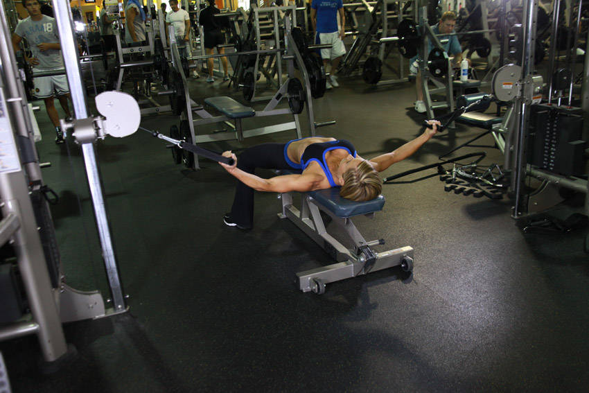 Flat bench cable flyes exercise guide and video for Floor underhand cable fly