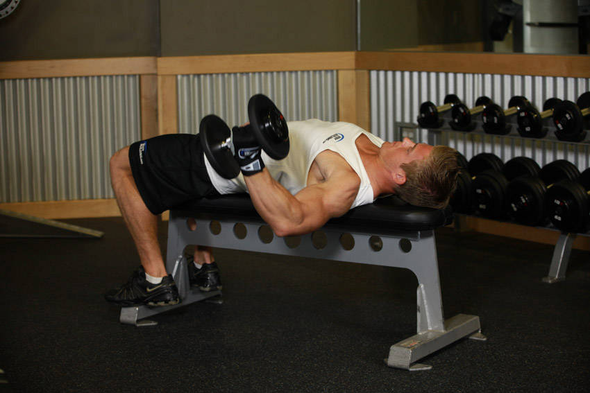 One-Arm Flat Bench Dumbbell Flye image