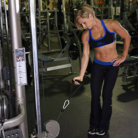Single-arm biceps curl on cables