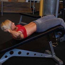 Weighted incline bench crunch