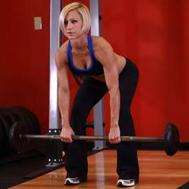 Wide-grip barbell bent-over row