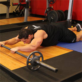 Barbell ab roll-out (knees)