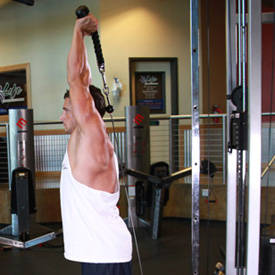 Overhead triceps extension (rope attachment)