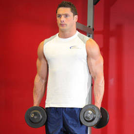Standing supinating dumbbell curl