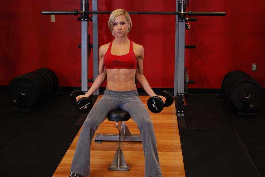 Seated Dumbbell Inner Biceps Curl Exercise Guide and Video