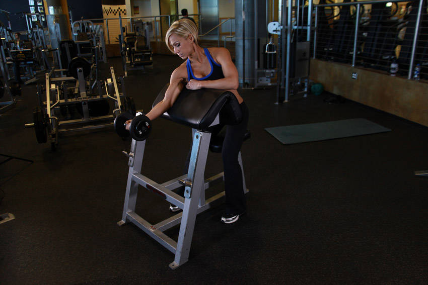 One Arm Dumbbell Preacher Curl Exercise Guide And Video