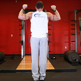 shoulder press  with bands exercise guide and video