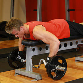 Lying Cambered Barbell Row image