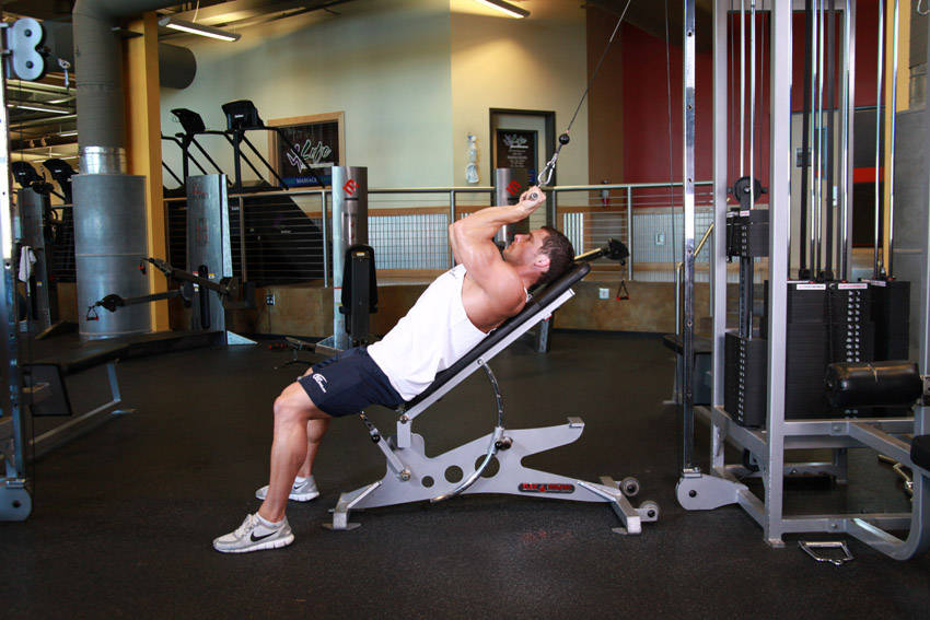 Cable Extensions Workout : Cable incline triceps extension exercise guide and video