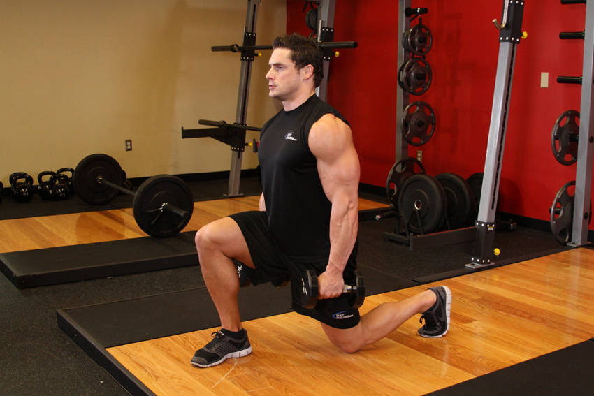 dumbbell lunges exercise guide and video