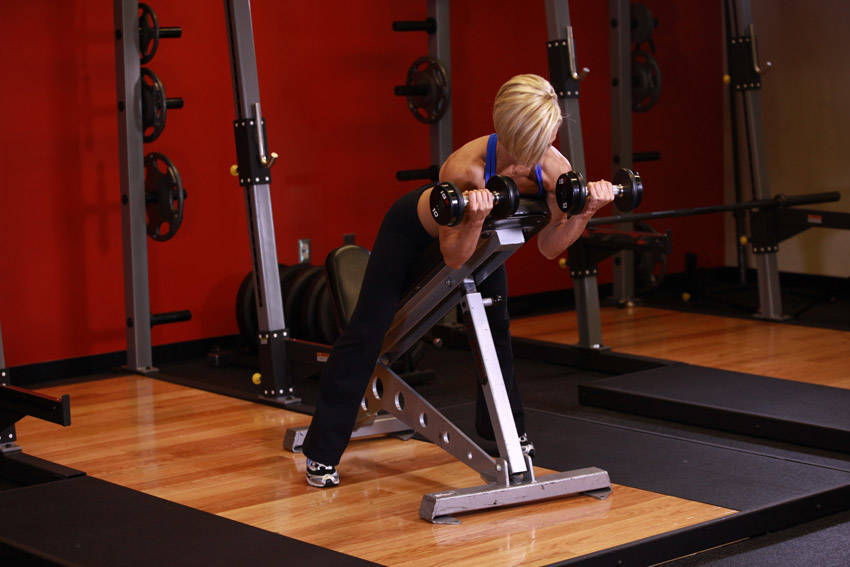 Dumbbell Prone Incline Curl Exercise Guide and Video
