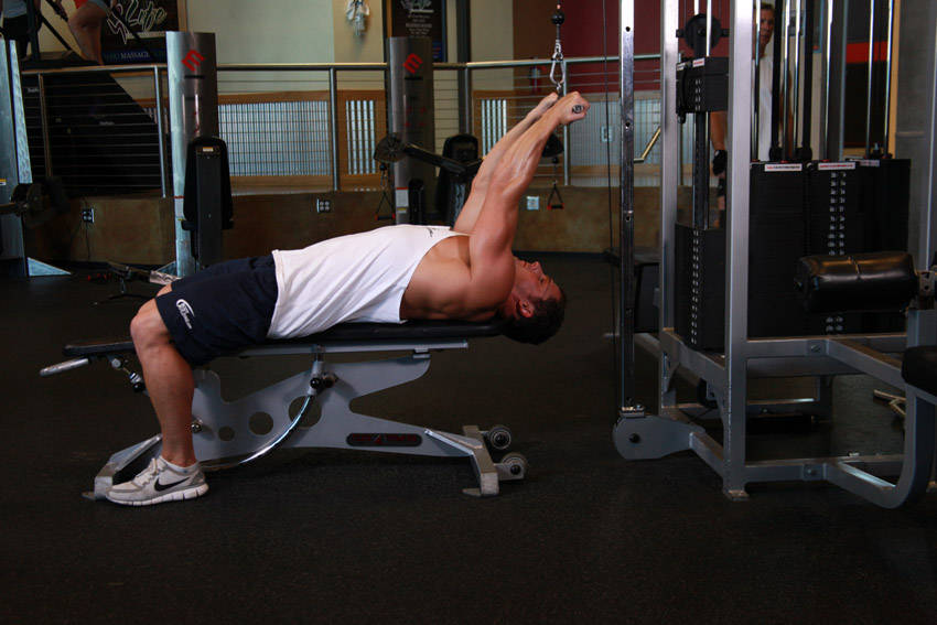 Rope Pulley Curls : Lying close grip bar curl on high pulley exercise guide
