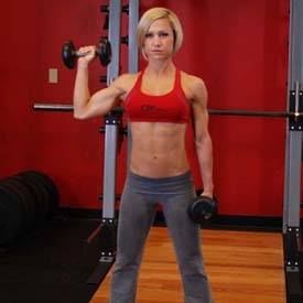 Single-arm standing dumbbell press