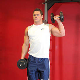 Standing single-arm shoulder press