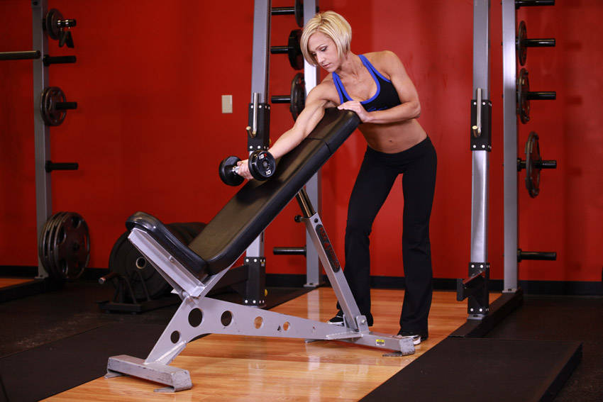 Standing One-Arm Dumbbell Curl Over Incline Bench Exercise Guide and Video