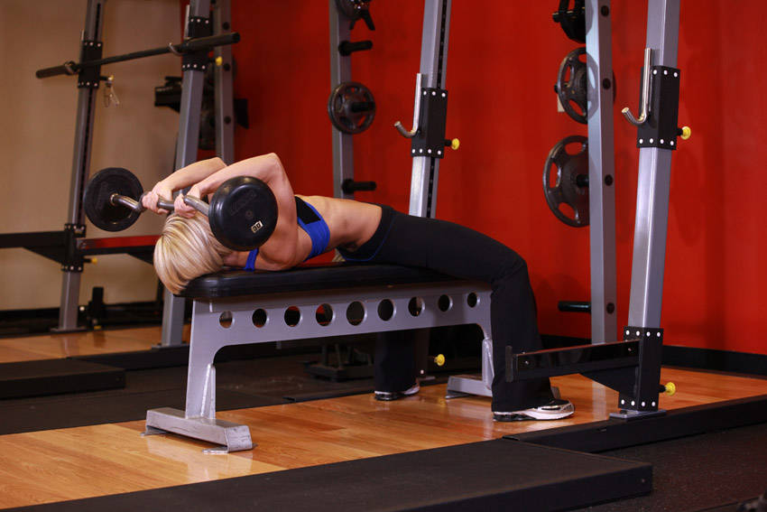 lying triceps press exercise guide and video