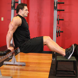 Bench Dips: no weights, you just need two sturdy bases to perform.