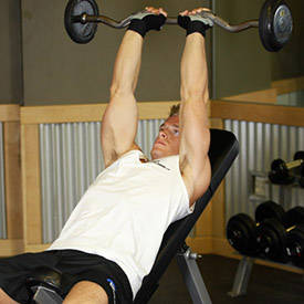 Incline lying triceps extension