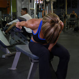 Seated Bent-Over One-Arm Dumbbell Triceps Extension