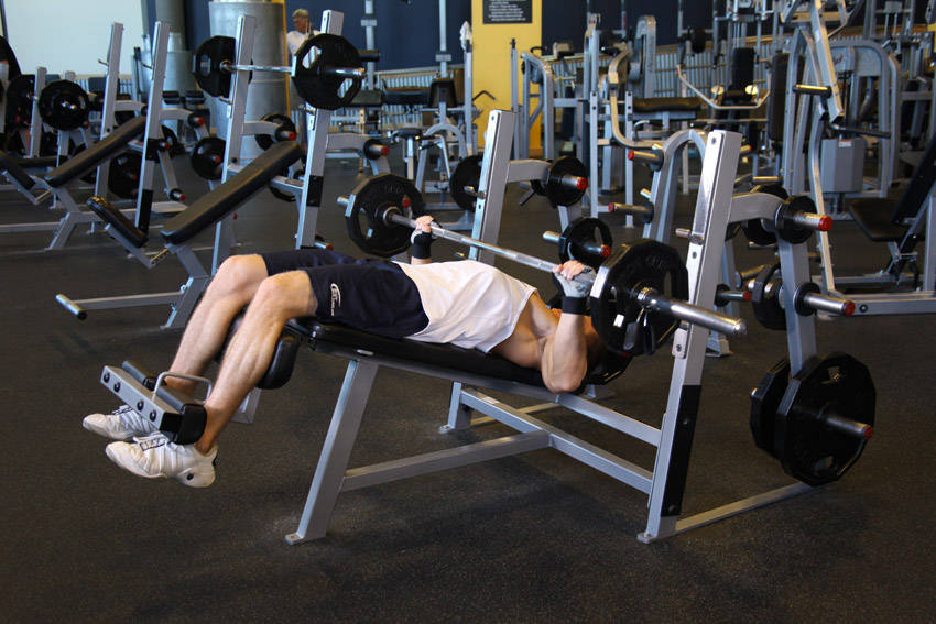 wide grip decline barbell bench press exercise guide and video