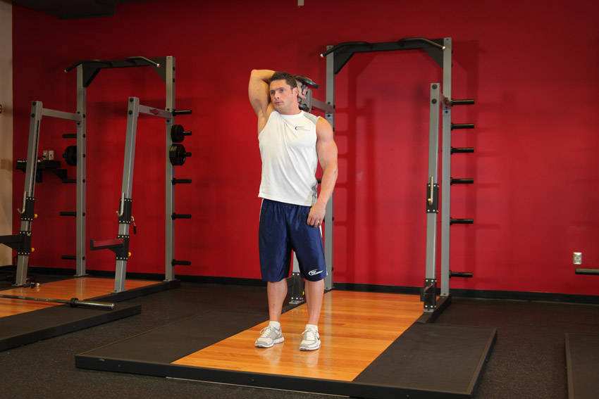 Standing One-Arm Dumbbell Triceps Extension image