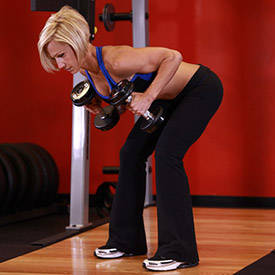 Bent-over dumbbell triceps kick-back
