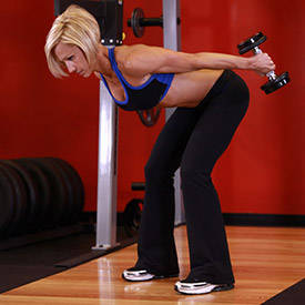 Standing Bent-Over Two-Arm Dumbbell Triceps Extension