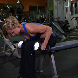 Seated Bent-Over Two-Arm Dumbbell Triceps Extension