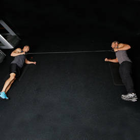 Partner Facing Side Plank With Band Row