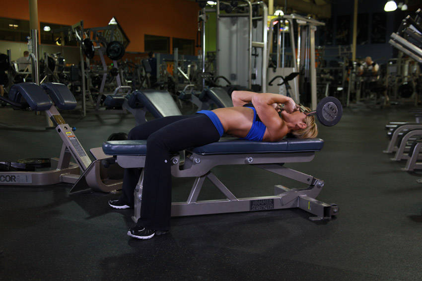 lying closegrip barbell triceps press to chin exercise