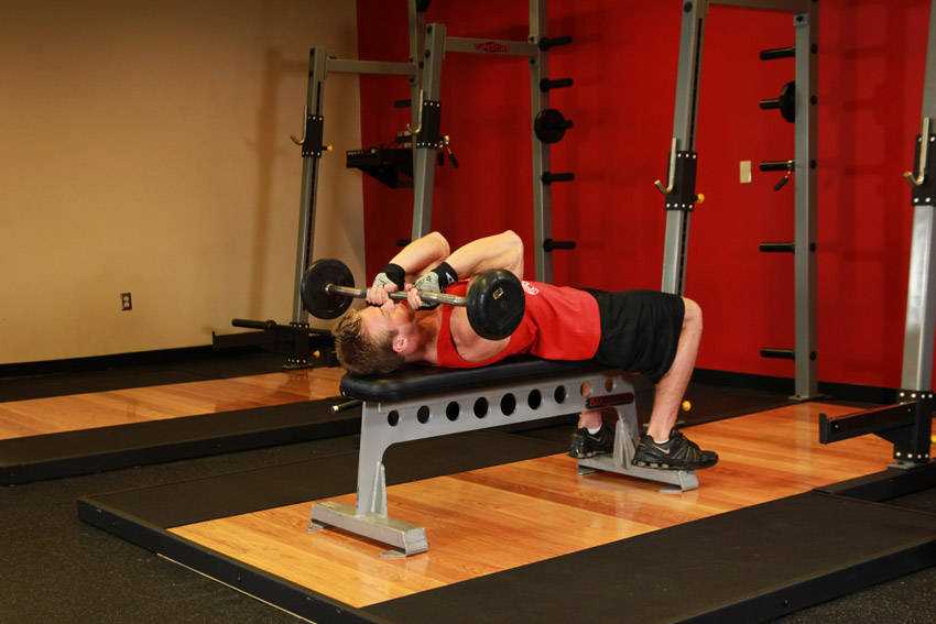 Lying Close-Grip Barbell Triceps Press To Chin image