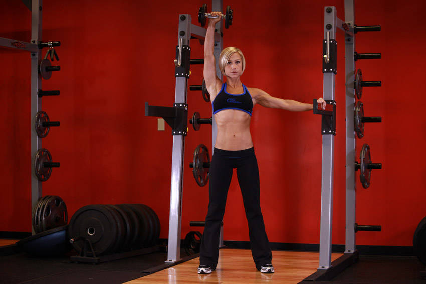 Standing Palm-In One-Arm Dumbbell Press Exercise Guide and
