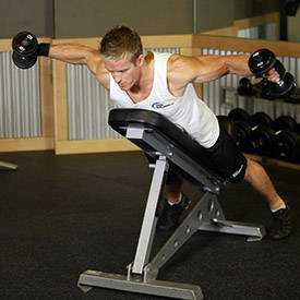 Dumbbell reverse fly in row position
