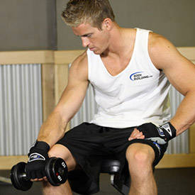 Seated One-Arm Dumbbell Palms-Down Wrist Curl image