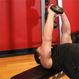 Flat-bench dumbbell pull-over