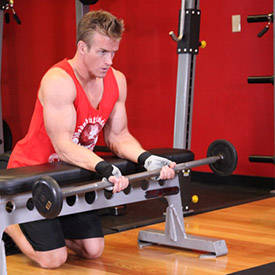 Arnold schwarzenegger blueprint trainer day 2 palms up barbell wrist curl over a bench malvernweather Gallery