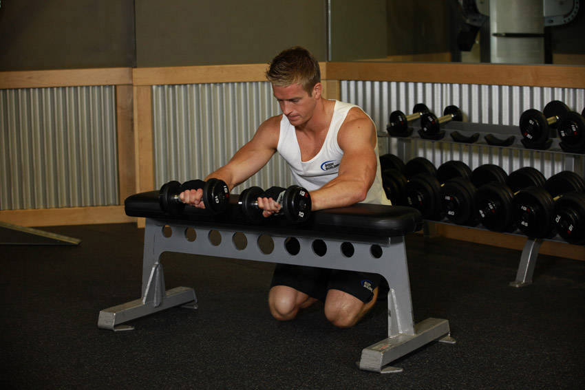 Palms-Down Dumbbell Wrist Curl Over A Bench image