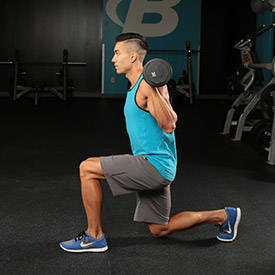 Dynamic-effort reverse lunge (front rack)