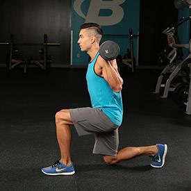 Dynamic-effort reverse lunge (front rack)