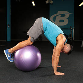 Stability Ball Pike With Knee Tuck image