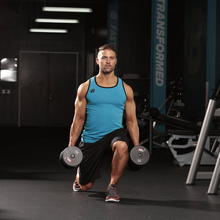 dumbbell walking lunge exercise guide and video