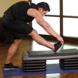 standing gastrocnemius calf stretch exercise guide and video