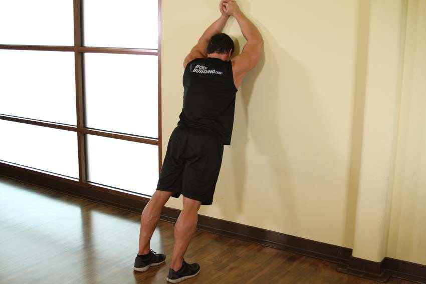Calf Stretch Elbows Against Wall image