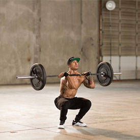 Barbell front squat to back squat